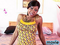 Beautiful ebony Jade playing with herself in the bed