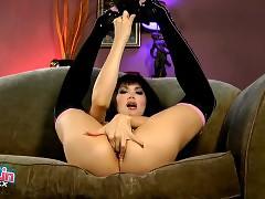Naughty tgirl Eva shoots a ball with her ass