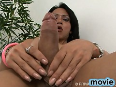 Amazing TS Ellen playing with her big fat cock
