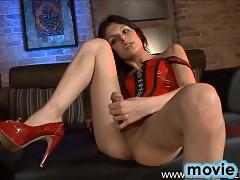 Stunning Alisha stroking off her huge hard dick