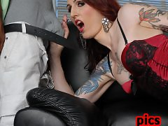Hot tgirl Brittany sucking on a huge black dick