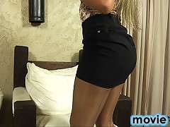 Stunning blonde shemale in hardcore action